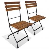 Składane krzesła ogrodowe, 2 szt., stal i lite drewno akacjowe