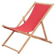 Składany leżak plażowy, tkanina i drewniana rama, czerwony
