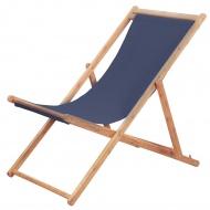 Składany leżak plażowy, tkanina i drewniana rama, niebieski