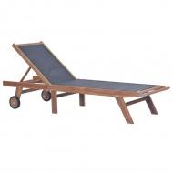 Składany leżak z kółkami, lite drewno tekowe i textilene