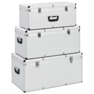 Skrzynie do przechowywania, 3 szt., srebrne, aluminiowe