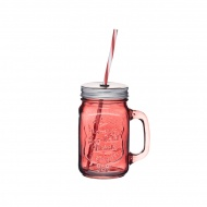 Słoik z uchwytem i słomką 450 ml Kitchen Craft Home Made czerwony