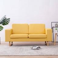 Sofa 2-osobowa, tapicerowana tkaniną, żółta