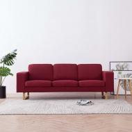 Sofa 3-osobowa, tapicerowana tkaniną, kolor czerwonego wina
