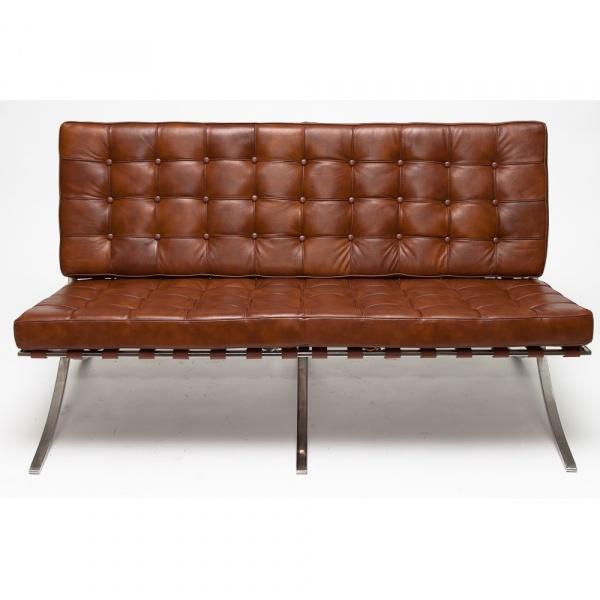 Sofa BA2 2 osobowa, jasny brąz skóra TP DK-65520