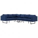 Sofa narożna, niebieska, materiałowa