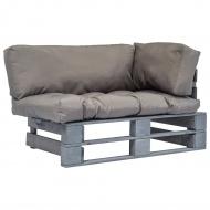 Sofa ogrodowa z palet z szarymi poduszkami, sosnowe drewno FSC