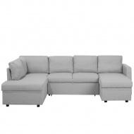 Sofa rozkładana podkowa tapicerowana jasnoszara KARRABO