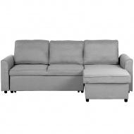 Sofa tapicerowana jasnoszara lewostronna NESNA