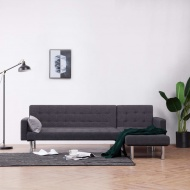 Sofa w kształcie litery L, ciemnoszara, poliester