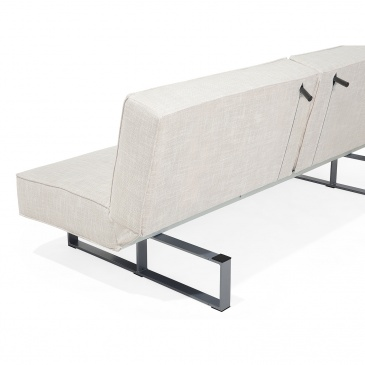 Sofa z funkcją spania tapicerowana jasnobeżowa DUBLIN