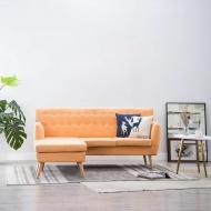 Sofa z leżanką, obita tkaniną, 171,5x138x81,5 cm, pomarańczowa