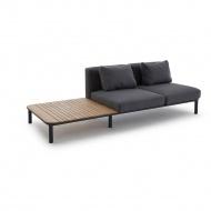 Sofa ze stolikiem bocznym 260x100x77 cm Miloo Home Lea ciemnoszara