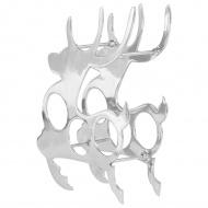 Stojak na butelki, lite aluminium, 33x14x54 cm, srebrny