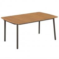 Stół ogrodowy, lite drewno akacjowe i stal, 150 x 90 x 72 cm
