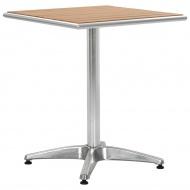 Stół ogrodowy, srebrny, 60x60x70 cm, aluminium i WPC