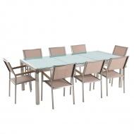 Stół szklany - do ogrodu - 220 cm - z 8 beżowymi krzesłami - Efraim BLmeble