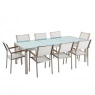 Stół szklany - do ogrodu - 220 cm - z 8 białymi krzesłami - Efraim BLmeble