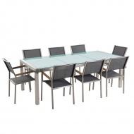 Stół szklany - do ogrodu - 220 cm - z 8 szarymi krzesłami - Efraim BLmeble