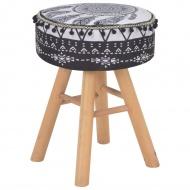 Stołek, czarno-biały, tapicerowany tkaniną