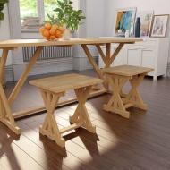 Stołek z litego drewna tekowego, 42 x 35 x 45 cm