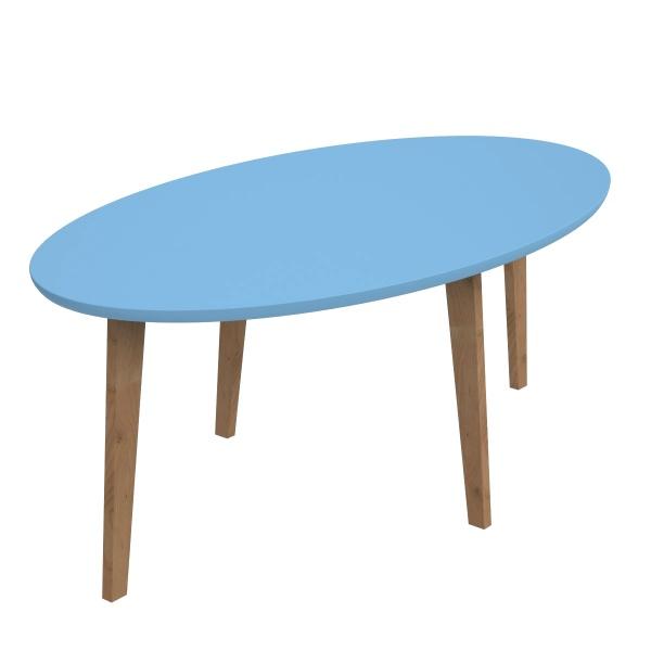 Stolik D2 Norman owalny z niebieskim blatem DK-64050