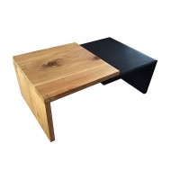 Stolik kawowy 115x67cm Quentin Design Moderno eko skóra drewno