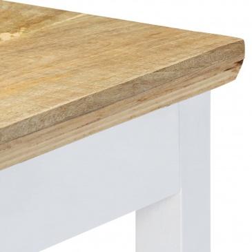 Stolik konsola, biało-brązowy, 110x35x75 cm, lite drewno mango