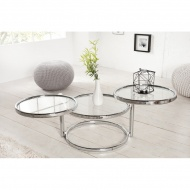 Stolik rozkładany 43x55-155cm King Home Deco srebrny