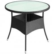 Stolik z polirattanu do ogrodu, 60x74 cm, czarny