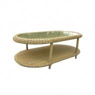Stolik ze szkłem 130x70x33 cm Miloo Home Sevilla jasnobrązowy
