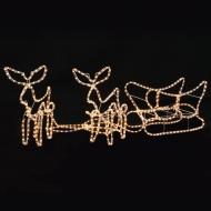 Świąteczna ozdoba, 2 renifery z saniami, 300 x 24 x 47 cm