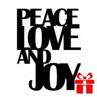 Świateczny napis na ścianę PEACE LOVE AND JOY DekoSign
