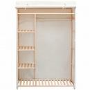 Szafa z drewna sosnowego i tkaniny, 110 x 40 x 170 cm