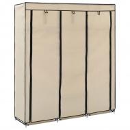 Szafa z przegrodami i drążkami, kremowa, 150x45x175 cm, tkanina