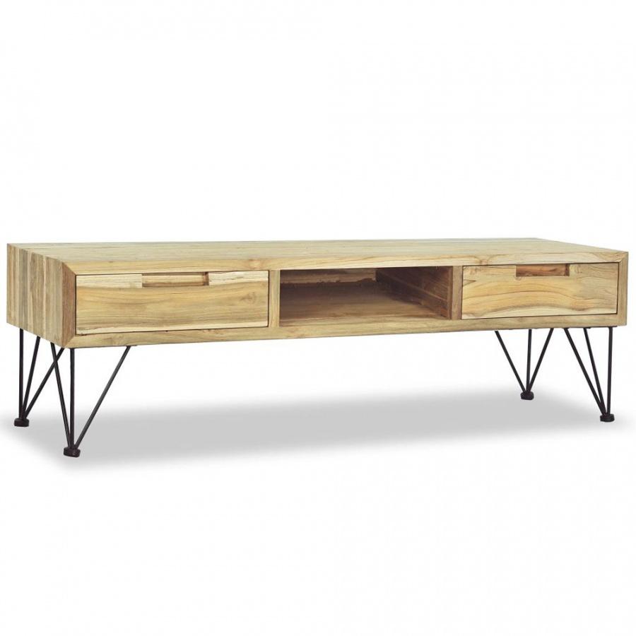 Szafka pod telewizor, 120 x 35 x 35 cm, lite drewno tekowe kod: V-244575 + Z NAMI NIE RYZYKUJESZ