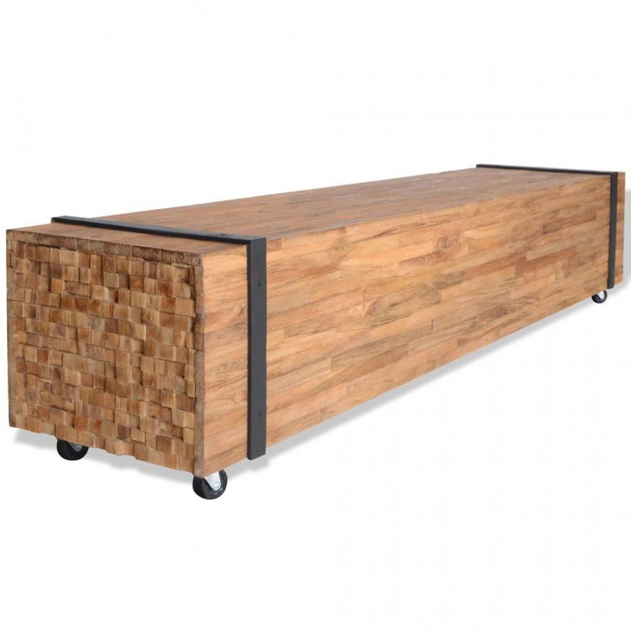 Szafka pod telewizor z drewna tekowego, 150 x 30 x 30 cm kod: V-244517 + Z NAMI NIE RYZYKUJESZ