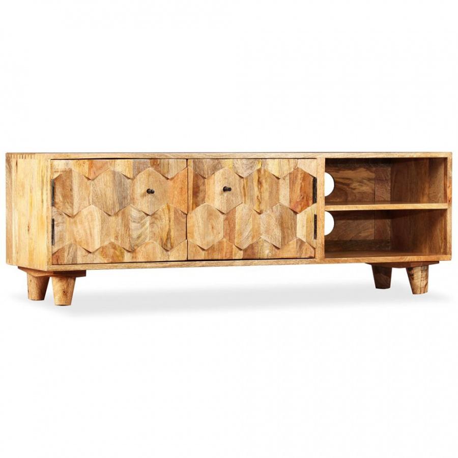 Szafka pod telewizor z litego drewna mango, 118x35x40 cm kod: V-245136 + Z NAMI NIE RYZYKUJESZ