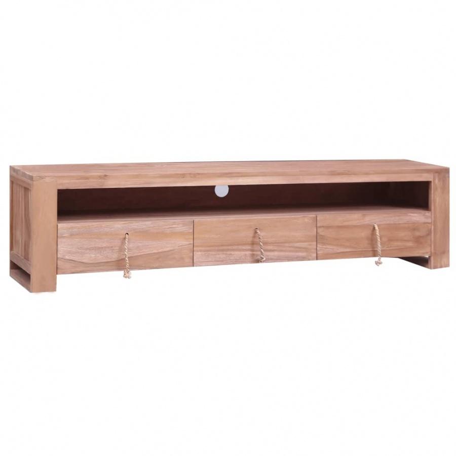 Szafka pod TV, 140x30x35 cm, lite drewno tekowe kod: V-287893 + Z NAMI NIE RYZYKUJESZ