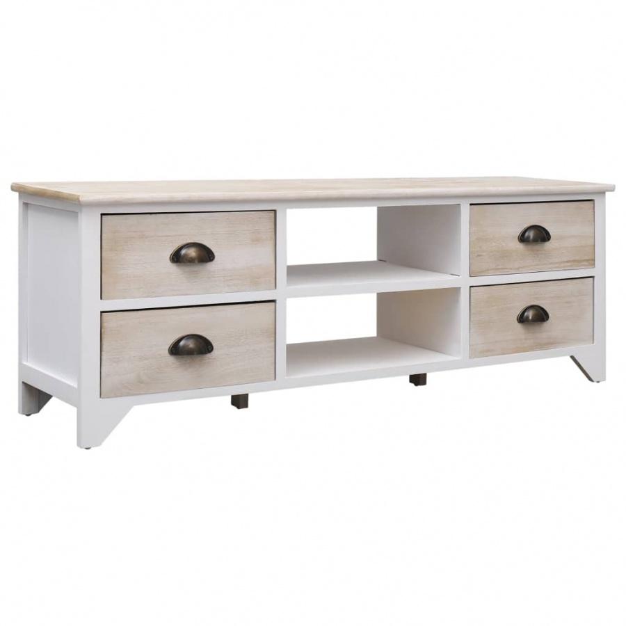 Szafka pod TV, kolor naturalny, 115x30x40 cm, drewno kod: V-284120 + Z NAMI NIE RYZYKUJESZ