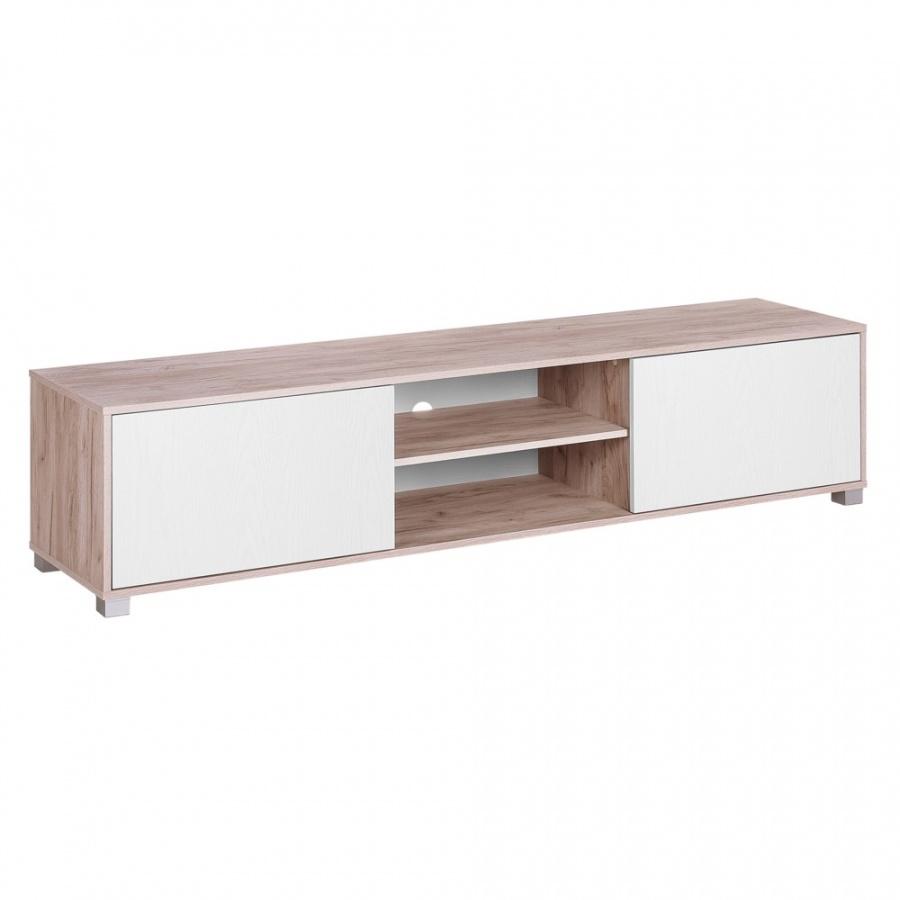 Szafka RTV jasne drewno z białym LINCOLN kod: 4251682228497 + Z NAMI NIE RYZYKUJESZ