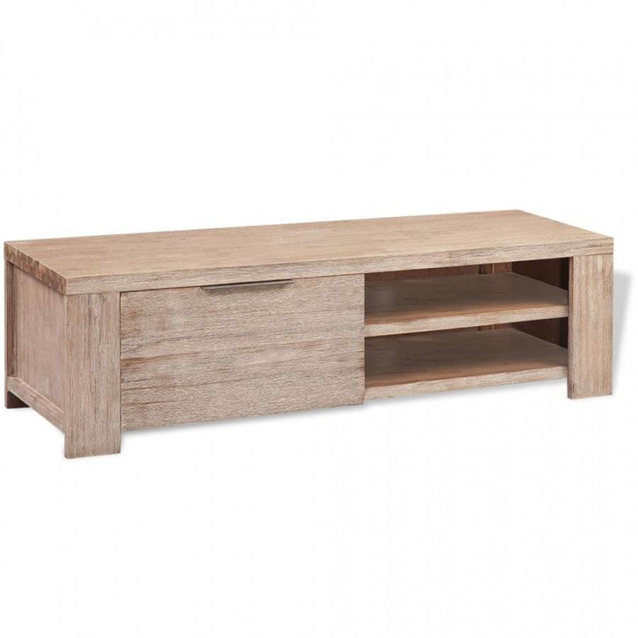 Szafka TV ze szotkowanego drewna akacjowego, 140x38x40cm kod: V-244337 + Z NAMI NIE RYZYKUJESZ