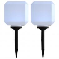Sześcienne lampy solarne na zewnątrz, 2 szt., LED, 20 cm, białe