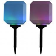 Sześcienne lampy solarne na zewnątrz, 2 szt., LED, 20 cm, RGB
