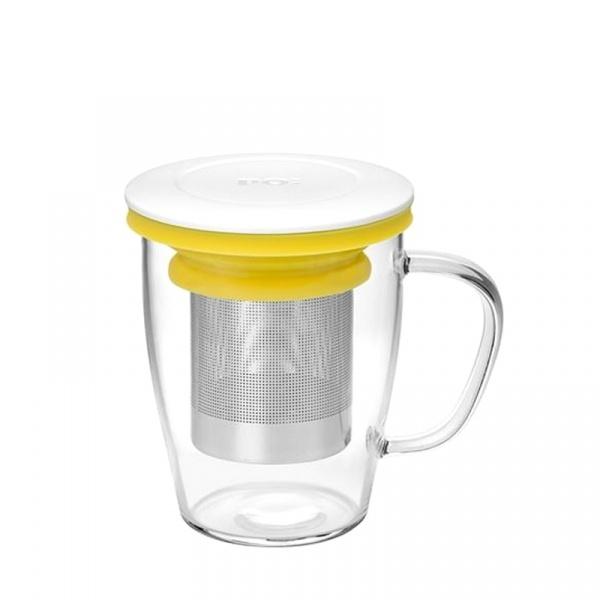 Szklanka z zaparzaczem 350 ml PO: Ming biało-żółta P14750