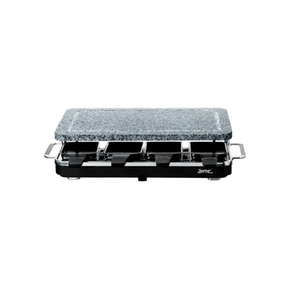 Szwajcarski grill Raclette 8 z kamienną płytą firmy SPRING, kolor czarny FRS0190