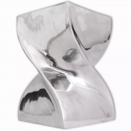 Taboret/Stolik boczny o skręconym kształcie z aluminium, srebrny