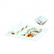 Taca porcelanowa z miseczkami i łyżeczkami Nuova R2S Vintage