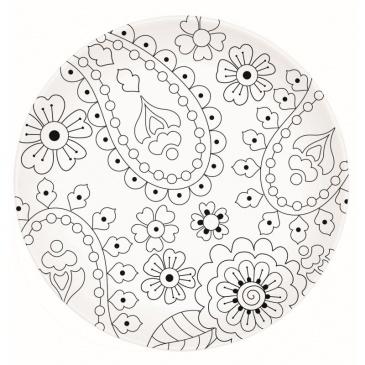 Talerz deserowy 19 cm Nuova R2S Art & Colour rośliny