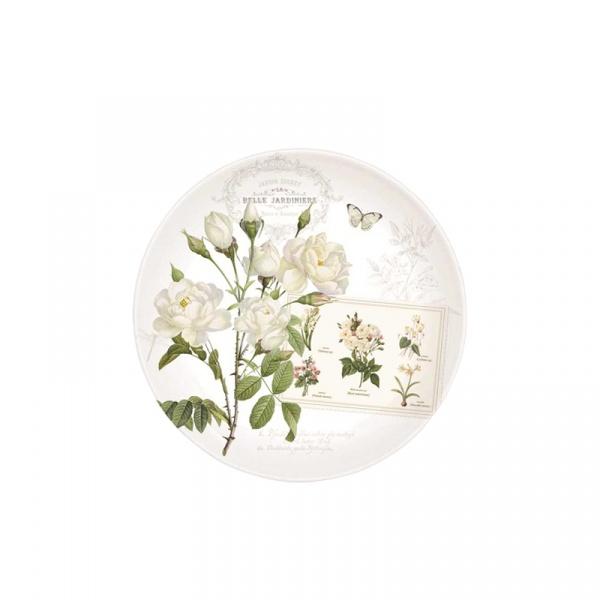 Talerz deserowy 19 cm Nuova R2S Romantic białe kwiaty 324 NATU